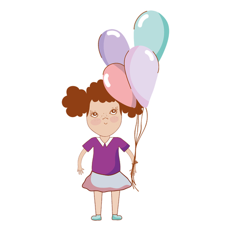 pretty girl with balloons and casual wear