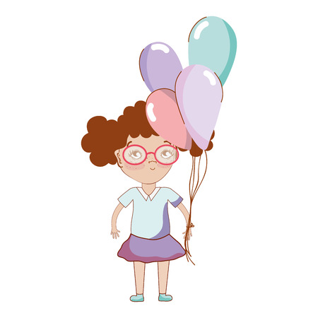 pretty girl with balloons and glasses Illustration