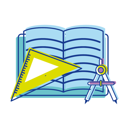 open notebook with study tools icon