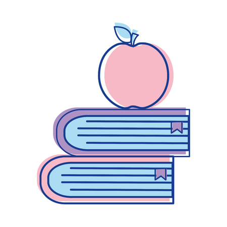 school books with apple fruit icon