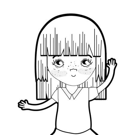 line pretty girl with hairstyle and casual wear
