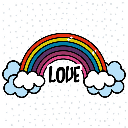 Rainbow and cloud with peace and love message Illustration