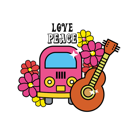 minibus: Cute hippie minibus with flowers and guitar