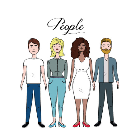 Cute people with hairstyle and different wears Illustration