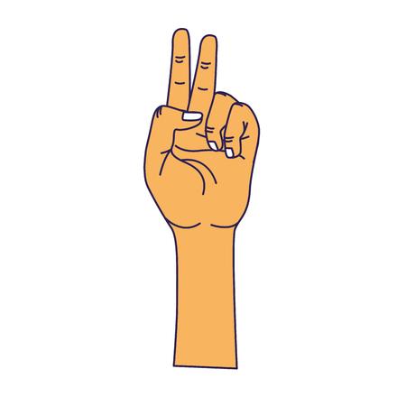 upwards: hand with middle finger and fingerprint up symbol Illustration