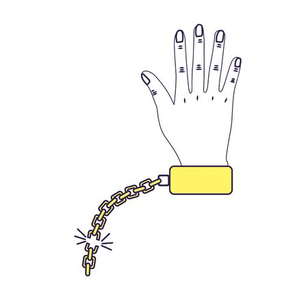 metalic: A hand with metalic chain
