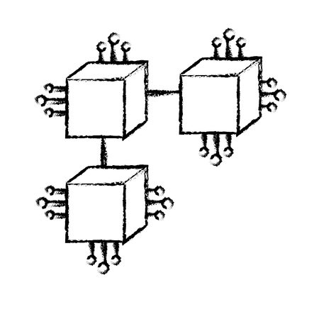 figure squares digital connections with circuits electronic Illustration