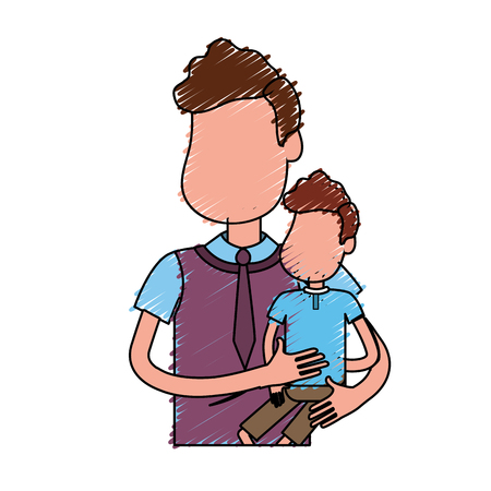 shirt tie: nice father carrying his son in the hands Illustration