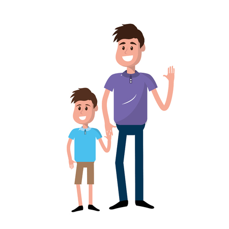 happy man with his son holding hand, vector illustration