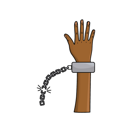cute hand up with metalic chain