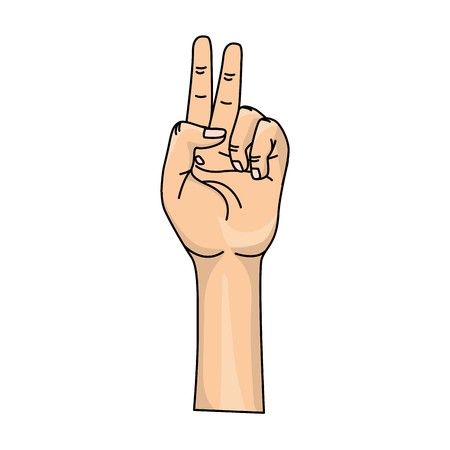hand with middle finger and fingerprint up symbol Illustration