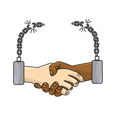 Nice hands together like friendship with chains