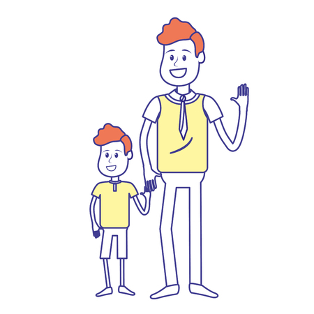 Happy man with his son holding hand, vector illustration Illustration