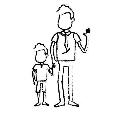 figure father with his son together and holding hands, vector illustration