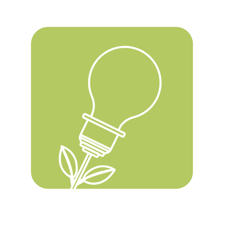 label bulb plant with leaves to save environment
