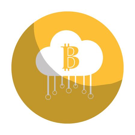 international banking: sticker cloud data center with bicoin symbol