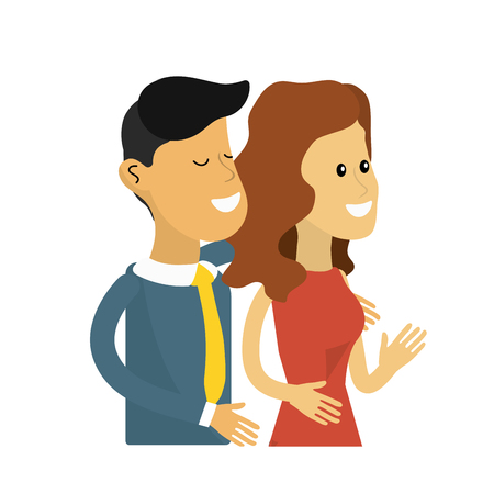happy cute couple with elegant wear, vector illustration