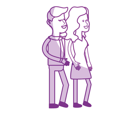 silhouette happy cute couple with elegant wear, vector illustration