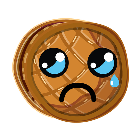 loaf: kawaii cute crying waffles with honey, vector illustration