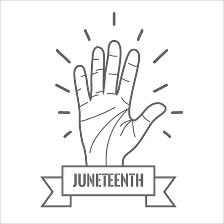 emancipation: hand up with ribbon massage to juneteenth celebrate, vector illustration Illustration