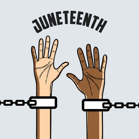 hands up with chain to celebrate freedom, vector illustration