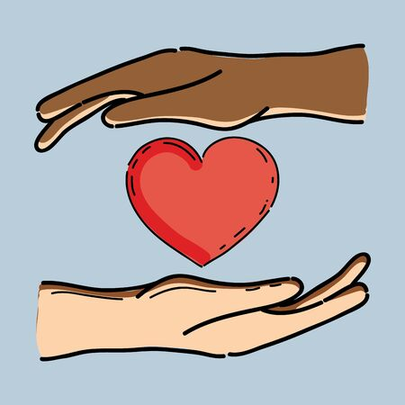 racism: hands with heart in the midle to celebrete freedom, vector illustration Illustration