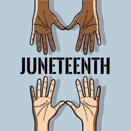 hands up to celebrate freedom juneteenth, vector illustration