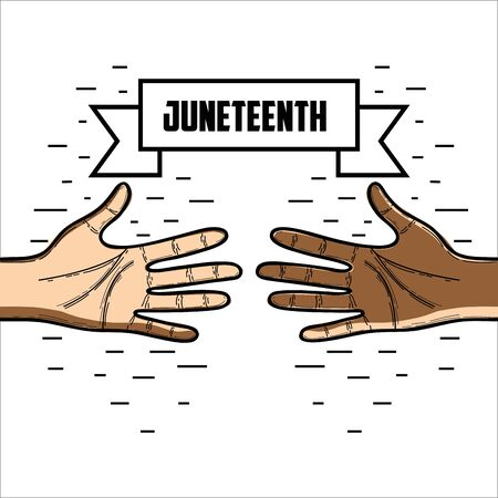 emancipation: hands with ribbon massage to juneteenth celebrate, vector illustration Illustration