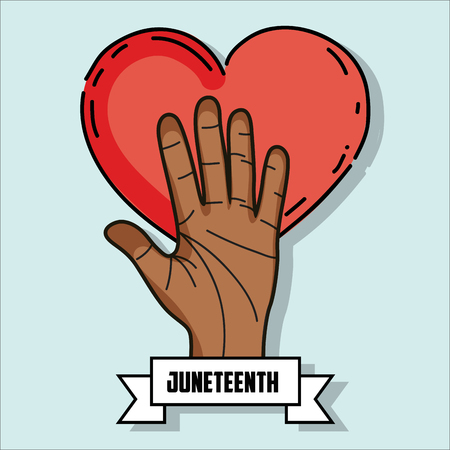 proclamation: hand up with heart and ribbon massage to juneteenth celebrate, vector illustration Illustration