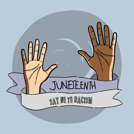 hands up with ribbon massage to juneteenth celebrate, vector illustration