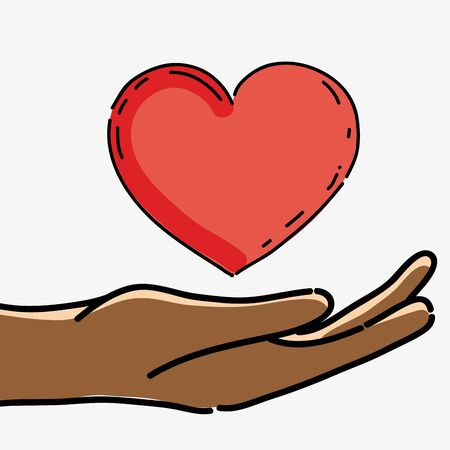 racism: hand with heart to celebrate freedom juneteenth Illustration