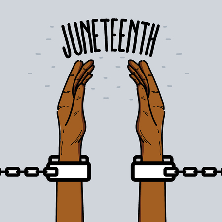 hands up with chain to celebrate freedom