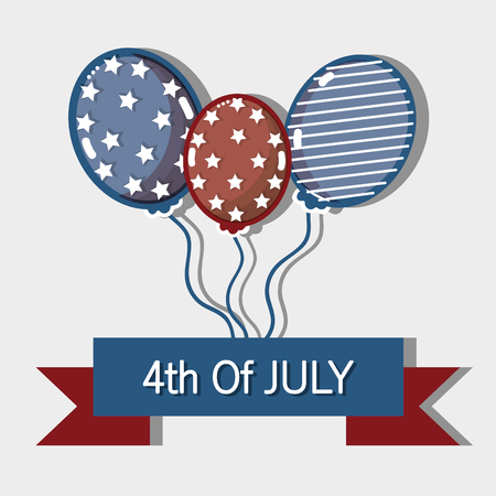 independence day with ribbon and balloons design Illustration