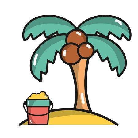 beach party: palm with bottle of sand in the beach on vacation Illustration