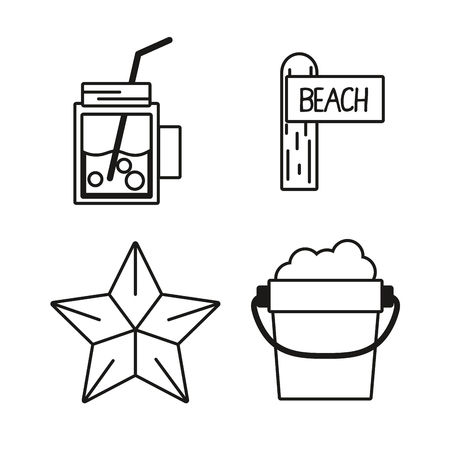 beach party: set tools to vacation summer day