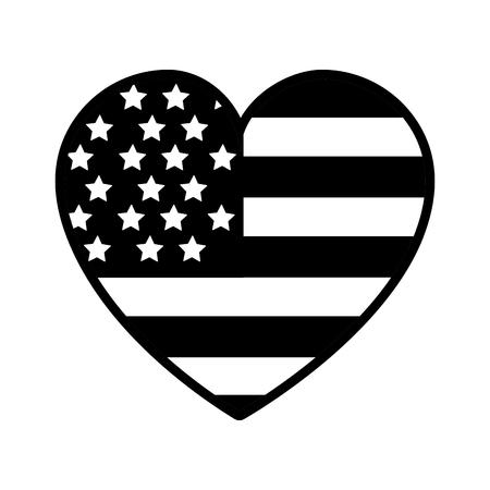 Contour nice heart with usa flag inside