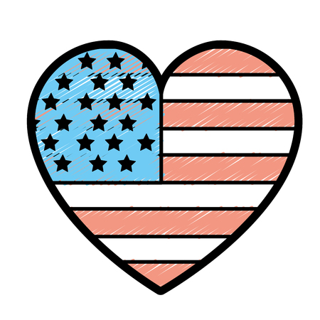 nice heart with usa flag inside Illustration