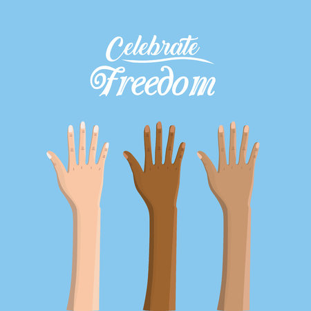 racism: hands up to celebrate freedom juneteenth