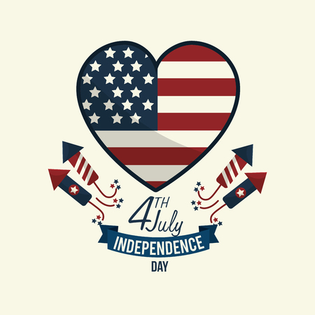independence day wiith heart emblem and firewords