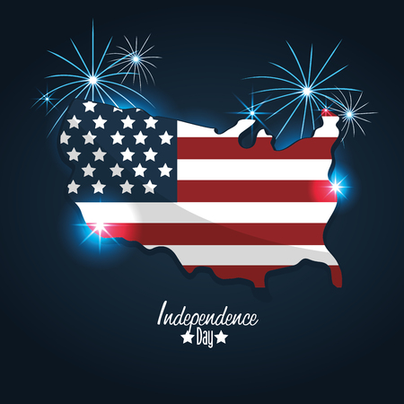 independence day with flag and map design Illustration