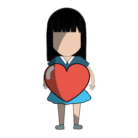 nice girls: Pretty girl with heart in the hand and casual wear