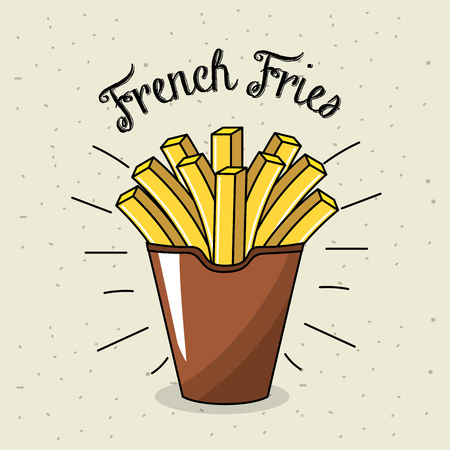Delicious fries french fast food meal Illustration