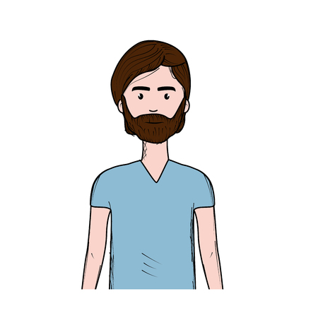 cute man with hairstyle and beard, vector illustration Illustration