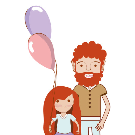 human face: Father with his daughter and balloons, vector illustration