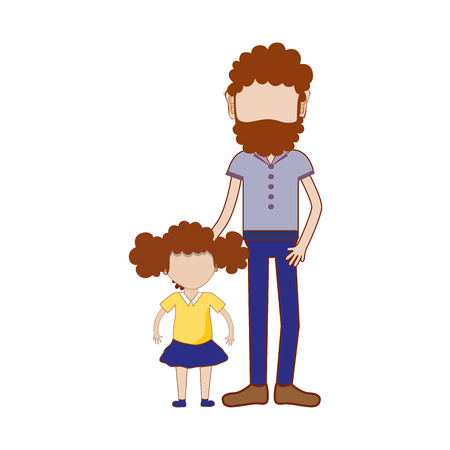 nice girls: father with his daughter and casual clothes, vector illustration