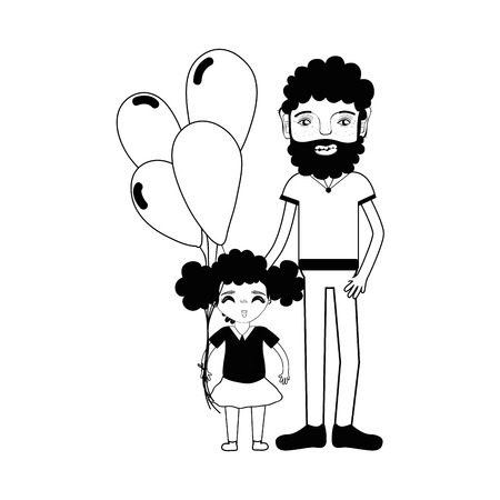 contour father with his daughter and balloons