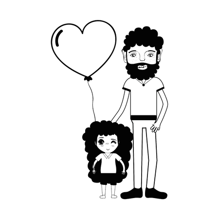 human face: contour father with his daughter and heart balloon Illustration