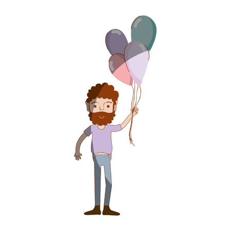 human face: man with beard and balloons in the hand, vector illustration