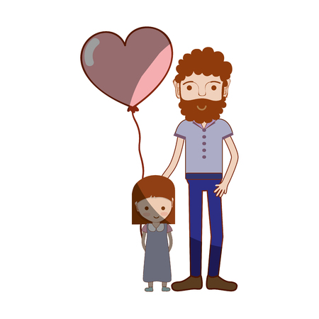 human face: father with his daughter and heart balloon