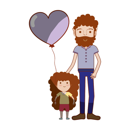 nice girls: father with his daughter and heart balloon